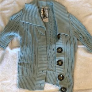 Fossil Sweaters - Soft blue asymmetrical button sweater